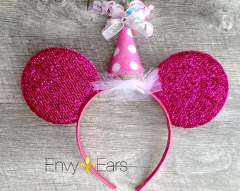 Minnie Birthday Ears,Mouse Ears, Disney Party Favor, Mickey Ears,Party Hat, Polka Dots,Minnie Mouse,Birthday girl, Pink Birthday,Mickey Ears