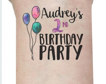 10 Kids Birthday Tattoos - Birthday Favors  Favours - Temporary Tattoos for Childrens Birthday Parties - Pinata Treats - 1st birthday party