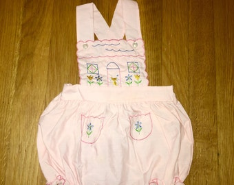 1960's cradle togs light pink bubble romper with floral & cat embroidery - size 6 months