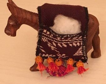 Wooden Donkey Figurine with Fabric Backpack filled with Cotton