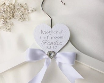 Personalised Mother of the Groom white wedding hanger