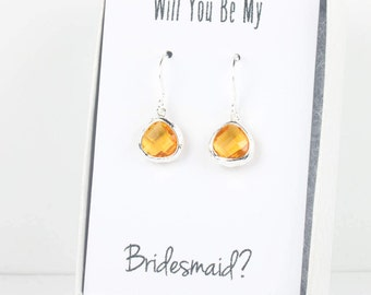 Tiny Topaz Silver Earrings, November Birthstone Earrings, Topaz Silver Earrings, Bridesmaid Earrings, Topaz Wedding Jewelry