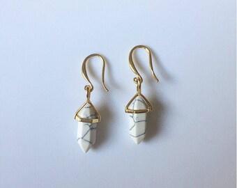 Marble earrings~dangly earrings~dangle earrings~long earrings~marble jewelry~hanging earrings~howlite white gemstone earrings~