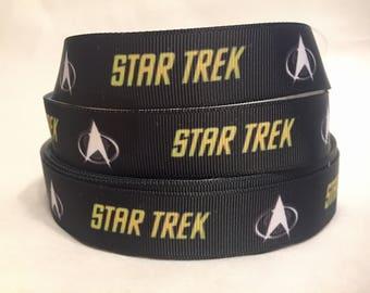 "1/3/5/10 Yards - 7/8"" Star Trek Print Grosgrain Ribbon"