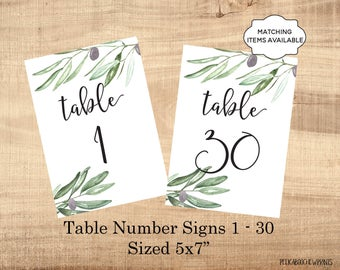 Table Number Signs Printable 5x7 Wedding Table Marker 1-30 Banquet Party Dinner Luncheon Benefit Table Identifier Olives Boho Leaves PCOLWS