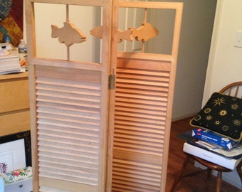 decorative screen  - shutters and fish cutouts