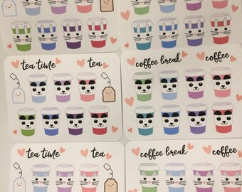 Rabbit/Panda/ Cat coffee and tea planner stickers