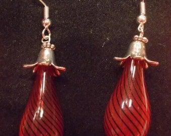 Blown glass red earrings