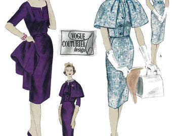 "Vintage 1960's Sewing Pattern Vogue Couturier Slim Dress & Cape B 34"" Ultra Rare"