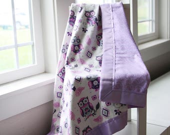 Purple Owl Blanket, 100% Cotton, Flannel, Baby Blanket, Newborn, Swaddle Blanket, Stroller Blanket, Girl Blanket, Purple, Grey, Pink