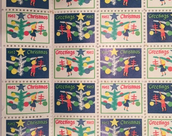 1962 Vintage Christmas Envelope Seals - American Lung Association