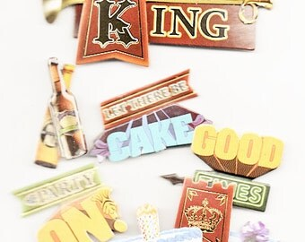 Birthday King Paper House 3d  Scrapbook Stickers Embellishments Cardmaking Crafts