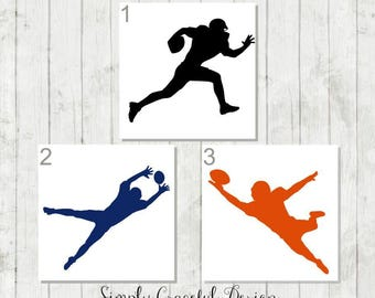 Football Decal, Custom Football Decal, Team Party Gifts, Football Car Decal, Football Player Decal, Football Sticker, Football Silhouette
