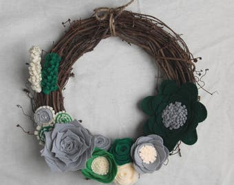 Hello Spring Flower Wreath - Felt Floral Wreath - Grapevine Front Door Wreath - Felt Succulent Wreath - Front Door Decoration