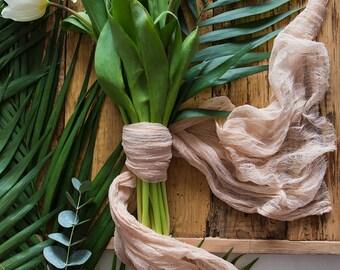 Beige Gauze Bridal bouquet wrap, rustic Brides bouquet, gauze runner, Cheese cloth, Cotton Scrim, Bouquet Holder, Ribbon Bouquet Wrap