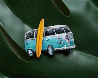 Surf volkswagen van wooden handpainted brooch