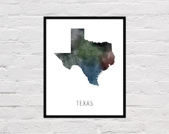 Texas Map Print, Texas Art Print, Texas Printable, Texas Wall Art, Watercolor Map, Texas State Poster, Printable State Map, Digital Download