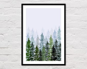 Watercolor Evergreen Trees, Watercolor Forest Print, Watercolour, Mountain Home Decor, Botanical Art, Printable Wall Art, Digital Download
