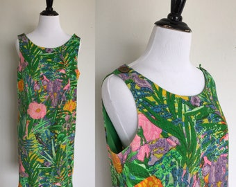 Paradiso Dress | 1960s Vintage Tropical Floral + Birds Linen Shift Dress with Button Straps | Size S/M