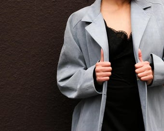 Vintage Soft Blue Suede Trench
