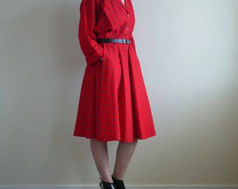 Red Open Neck Flair Dress