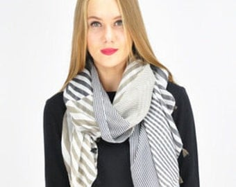 Striped Grey Spring Scarf / Summer Scarf / Autumn Scarf / Gift for her / Women Scarfs / Scarves UK / Scarves For Women / Fashion Accessories