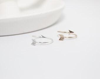 Arrow Wrap Ring // Arrow Ring // Adjustable Arrow Ring // gold or silver//  Geometric Ring // Chevron Arrow // Modern Knuckle Ring //MB-R009