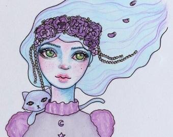 Dreamy Flower Girl with Pet Cat Print   Planner Divider Dashboard Insert
