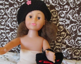 American Girl Doll Beret Hat w/ Purse