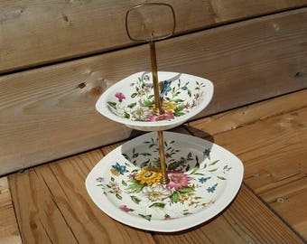 Two Tier Porcelain Plate Stylecraft by Midwinter Staffordshire Vintage Serving Cookie Cake Stand Platter Tea Time Floral Made in England