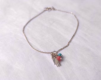 Silver braclet with Hamsa hand charm, tourquoise and red coral beads