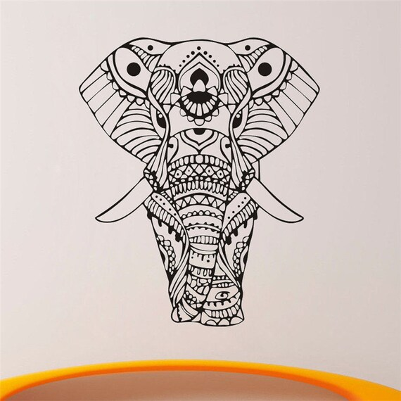 Vinyl Wall Decal - Wall Stickers Mandala Yoga Ornament Indian Buddha God Elephant Quality Wall Decals Home Decoration Murals
