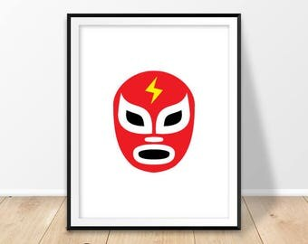 Luchador mask print, Lucha libre print, Digital prints, Mexico decor, Mexican wrestling, Lucha masks, Gift for him, Printable art, Download