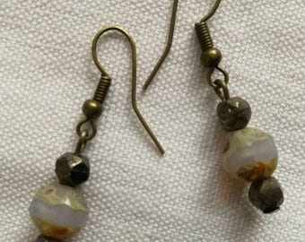 Beige and Silver earrings / free shipping