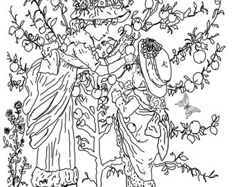 Picking Peaches....A Coloring Page