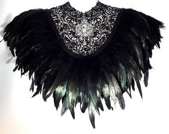 Steampunk lace and feather collar. Victorian inspired black feather cape with detachable crystal brooch.