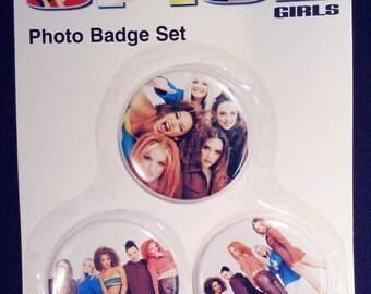 Vintage Spice Girls Photo Badge Set, Spice Girls Original (3set) Photo Badge Set, Official Spice Girls Merchandise, Spice Girls Memorabilia