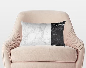 MIXED Marble Pillow, Marble Look Pillow, Marble Throw Pillow, Girly Pillow, Black and White Marble Pillow, Decorative Pillow, Marble Decor