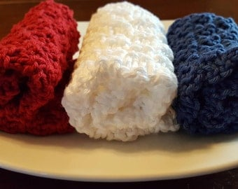 America the Beautiful, Red, White & Blue Hand Knit Washcloths -Set of 3