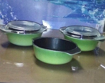 Vintage 1960's Olive Green, Fire King Mini Casserole Dishes, set of 3 with 2 lids