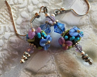 Flower Lampwork Earrings, Black, Lilac & Periwinkle Blue Floral Earrings, Lampwork Jewelry, Mothers Day, Gift For Her