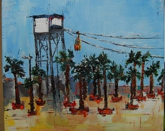 Barcelona cable car original oil painting on canvas ready to hang