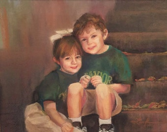 CUSTOM pastel portrait - brother & sister
