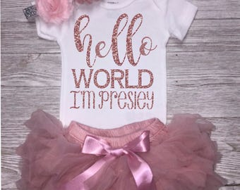 Personalized Hello World Bodysuit | Baby Shower Gift | Baby Girl Take Home Outfit | Optional Bow | Baby Girl Clothing | Newborn Baby Girl