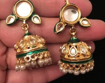 Ramya Series - gold plated leaf Kundan Jhumka's