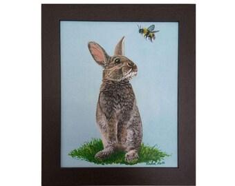 Small to Large Print, Wall Art, Nursery Bunny and Bumble Bee, Bunny and Bee, Bunny print, Cute Rabbit, Nursery Print, Baby Shower Art Print