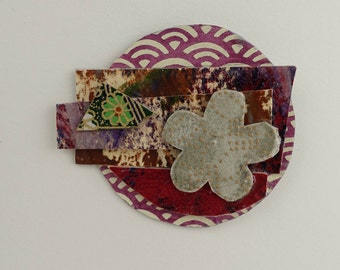 Collage Pin #5 Paper Art to Wear