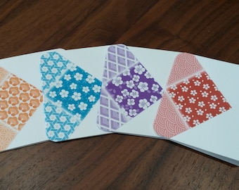 Japanese Geometric Flower Mini Cards, Set of 4, Small Gift Cards, Greeting Cards, Japanese Theme Cards, Thank You cards, Gift Cards