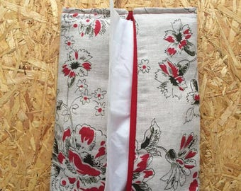Japanese cherry - Linen Pouch for tissues tissue holder