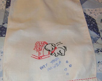 vintage Hand Embroidered Puppy and Doghouse with DRY YOUR PAWS Linen Finger Tip Towel - very cute
